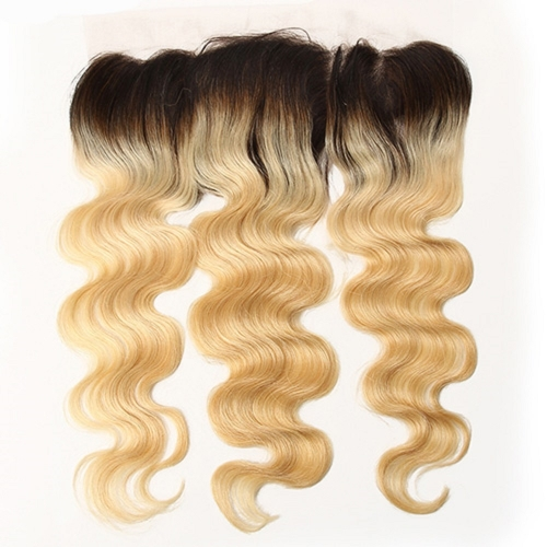 Wholesale Ombre Platinum Blonde #1B/613 Body Wave 13*4 Lace Frontal